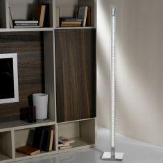 LED-Stehleuchte Aluminium chromfarbend, Glas, weiss, 4x 6W, 2607 lm, 3.000K warmweiß