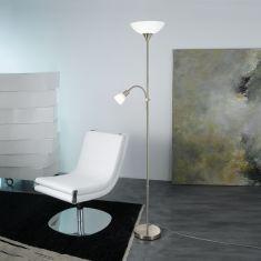 LED-Stehleuchte in nickel-matt mit weißem Glas und Acrylglas