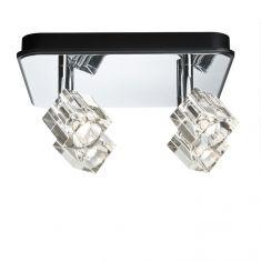 LED-Strahler in Chrom mit Würfelglas inklusive 4x 3W LED 440 Lumen