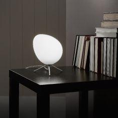 LED-Tischleuchte Evo mit weißem Glas, Dimmer