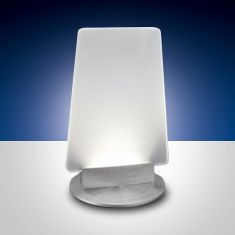 LED-Tischleuchte Sofi, Aluminiumgestell, weiße Glasplatte