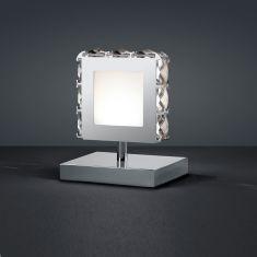 LED-Tischleuchte - verchromtes Metall, geschliffenes Kristallglas, klar -  inkl. 1 × SMD 4.5 W  LED, 400lm, 3000°K, A+ + Extra 1x GU10 LED Leuchtmittel zur freien Nutzung