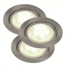 LED-Unterbauleuchten 3er Set stahlfarbig - 3x 1,2W LED stahlfarbig