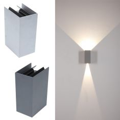 LED-Wandleuchte Anthrazit oder Silber, LED 2 x 3 W