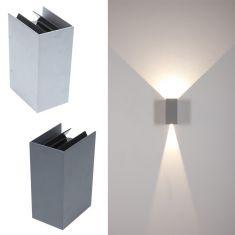 LED-Wandleuchte aus Aluminium - Anthrazit oder Silber - Inklusive LED 2 x 3 Watt 1200 Lumen