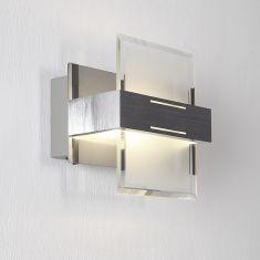 LED-Wandleuchte aus Aluminium, Chrom und Glas, 1-flammig