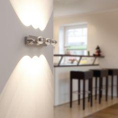 LED-Wandleuchte Lentil Chrom mit 4-fach Switch-Dimmer