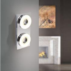 LED-Wandleuchte mit Direktschalter - Chrom /Glas - 2 x 4,2Watt LED