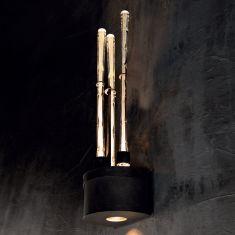 LED-Wandleuchte mit Glasstäben, 3-flg. + Downlight