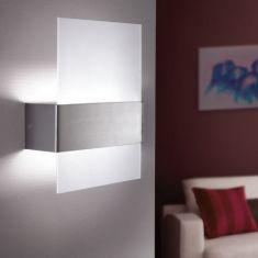 LED-Wandleuchte Nikita, Edelstahl und Glas, 2x2,5 Watt LED