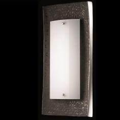 LED-Wandleuchte Oberfläche Dunkelbraun/ Aluminium mit glänzender Glasblende