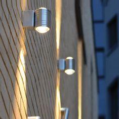 LED-Wandleuchte, Edelstahlgehäuse in rund