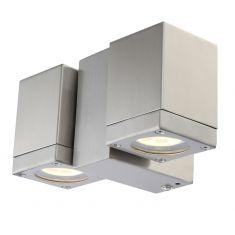 LED-Wandspot aus Edelstahl, Glas klar, IP44,