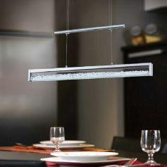 LED-Zugpendelleuchte mit hochwertigen Glas-Kristallen