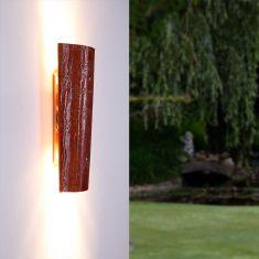 Leuchte aus einem Dachziegel in Marrone, IP44 für Innen und Außen
