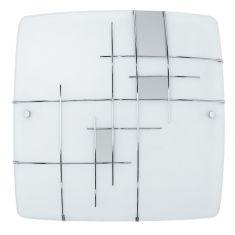 Leuchte für die Wand oder Decke aus Stahl, eckig, weiss, chrom/Glas satiniert, weiss, silber
