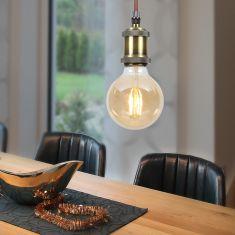 Leuchtenpendel E27 -  Metall Antik altmessing - Textilkabel braun