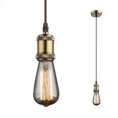 Leuchtenpendel E27 -Textilkabel braun - Metall Antik altmessing braun/messingfarbig