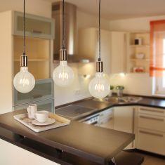 Leuchtenpendel  Spark3 Black inkl. 3x LED Globe 4W Leuchtmittel