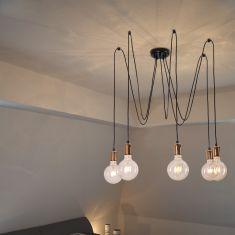 Leuchtenpendel  Spark5 Black inkl. 5x LED Globe 4W Leuchtmittel