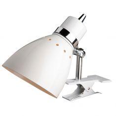 Leuchtenserie im Retrodesign - Kleine Klemmleuchte  - Stahl -  Weiss