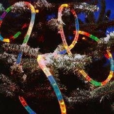 Lichterschlauch für Außen, Länge 9 Meter, bunte Birnen, 230V
