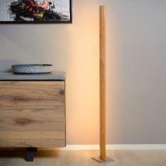 Lucide LED Stehlampe Sytze Helles Holz, Chrom Matt