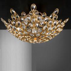 Luxuriöse Deckenleuchte, Blattgold / Kristallglas - 2 Größen