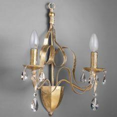 Luxuriöse Wandleuchte 2-flammig - Eisen mit Blattgold - Bleikristallrispen - Handgefertigt in Italien