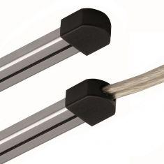 Magnetline Endkappe aus Kunststoff in Grau oder Schwarz mit oder ohne Loch für Einspeisung