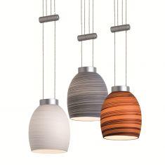 Magnetline Zugpendel in chrom oder silber matt mit gewischtem Glas in weiß, grau oder schoko