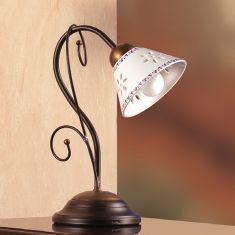 Mediterrane Tischleuchte - Keramikschirme - Metallkorpus - 1- oder 2-flammig