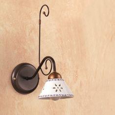 Mediterrane Wandleuchte - Keramikschirme - Metallkorpus - 1- oder 2-flammig