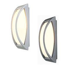 moderne Außenwandleuchte aus Aluminium mit UV beständigem Kunststoffglas, Leuchte in Anthrazit oder Silbergrau ieferbar