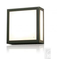 Moderne Aussenwandleuchte aus Edelstahl mit Opalglas, Edelstahl steingrau verzinkt grau, verzinkt