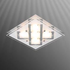 Moderne Deckenleuchte - Chrom - Glas teilsatiniert - Inklusive LED 5 x 2,5 Watt  200 Lumen  3000 Kelvin