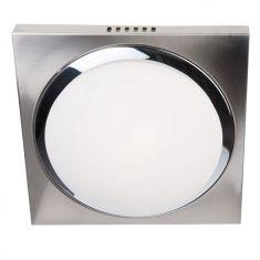 Moderne Deckenleuchte - Quadratisch - Stahl gebürstet/Chrom mit Glas weiss matt - 27 x 27 cm 1x 60 Watt, 27,00 cm, 27,00 cm