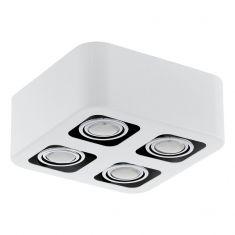 Moderne LED-Aufbauleuchte mit Stahl in weiß und chrom - 24 cm x 24 cm 4x 5 Watt, 24,00 cm, 24,00 cm