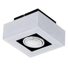 Moderne LED-Aufbauleuchte mit Stahl und Aluminium in chrom und schwarz - 14 cm x 14 cm 1x 3 Watt, 14,00 cm, 14,00 cm
