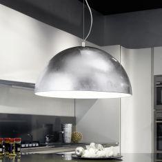 Moderne LED-Pendelleuchte 53cm in Weiß und Silber