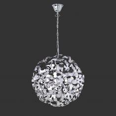 Moderne Pendelleuchte in Chrom mit Acrylblüten