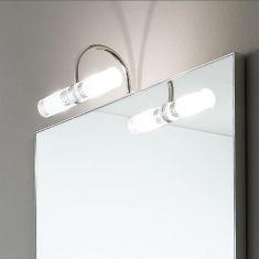 Moderne Spiegelleuchte in Chrom - inklusive Halogenleuchtmittel