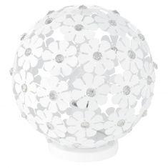 Moderne Tischleuchte aus weißen Blüten mit Kristallelementen