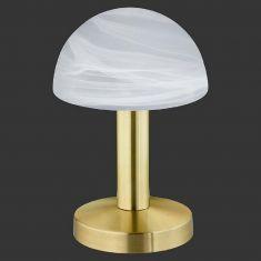Moderne Tischleuchte Touch me - Messing, Glas weiß
