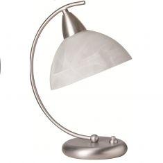 Moderne Tischleuchte - Stahl / Alabasterglas weiss, Dimmer