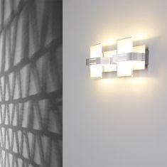 Moderne Wandleuchte - 2-flammig - Aluminium - Chrom -Glas satiniert - Inklusive LED 2 x 5W  3000 Kelvin  400 Lumen