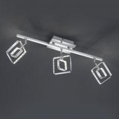Moderner 3-flammiger LED- Deckenstrahler mit eckigen Leuchtschirmen - Chrom - inklusive 3x 4,5 Watt LED