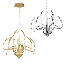 Moderner LED Kronleuchter Hampton chrom oder goldfarbig