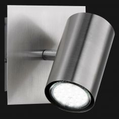 Moderner Wandspot aus Metall mit schwenkbarem Schirm - 1-flammig - Nickel-matt + Extra 1x GU10 LED Leuchtmittel zur freien Nutzung