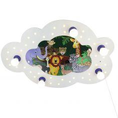 Niedliche Deckenleuchte fürs Kinderzimmer in Wolkenform mit vielen Dschungeltieren - inklusive LEDs